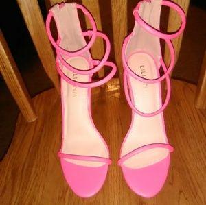 Lola shoetique hot neon pink barely legal heels